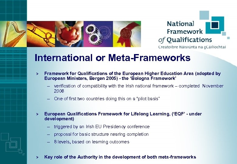 International or Meta-Frameworks Ø Framework for Qualifications of the European Higher Education Area (adopted