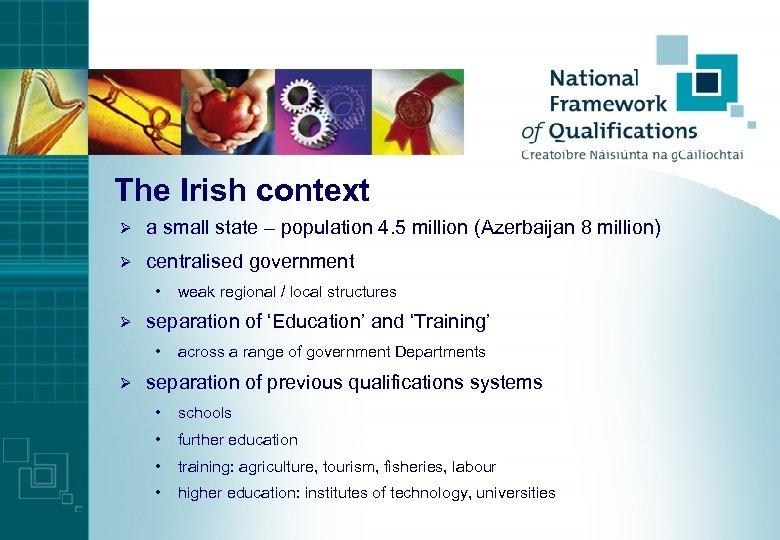 The Irish context Ø a small state – population 4. 5 million (Azerbaijan 8