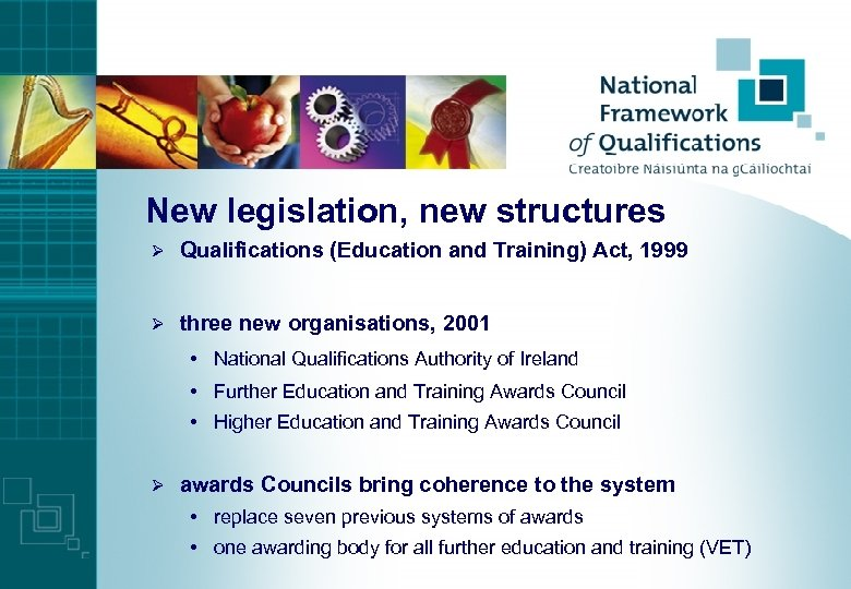 New legislation, new structures Ø Qualifications (Education and Training) Act, 1999 Ø three new