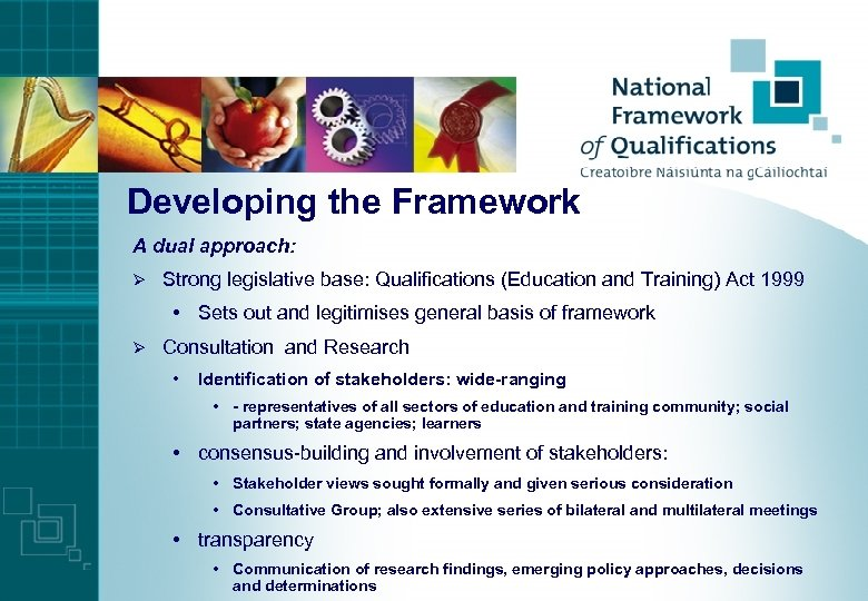 Developing the Framework A dual approach: Ø Strong legislative base: Qualifications (Education and Training)