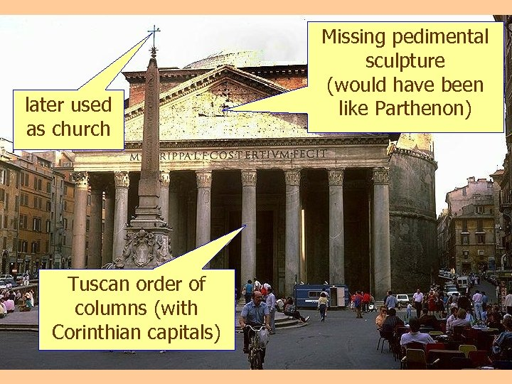 Pantheon later used as church Tuscan order of columns (with Corinthian capitals) Missing pedimental