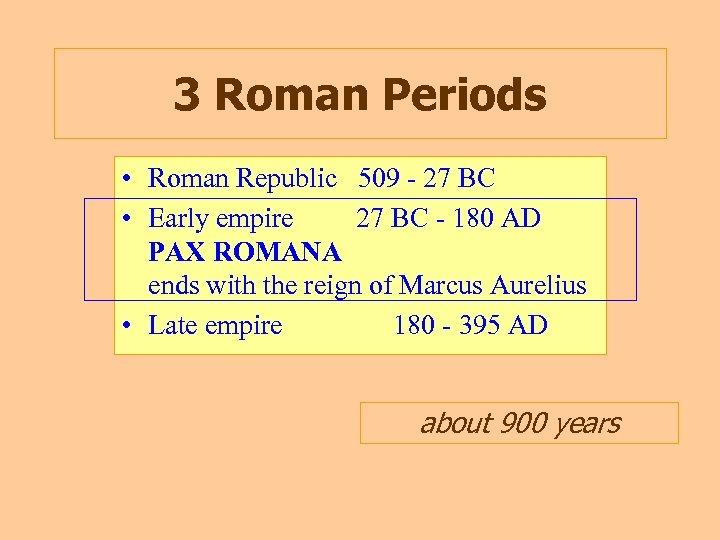 3 Roman Periods • Roman Republic 509 - 27 BC • Early empire 27