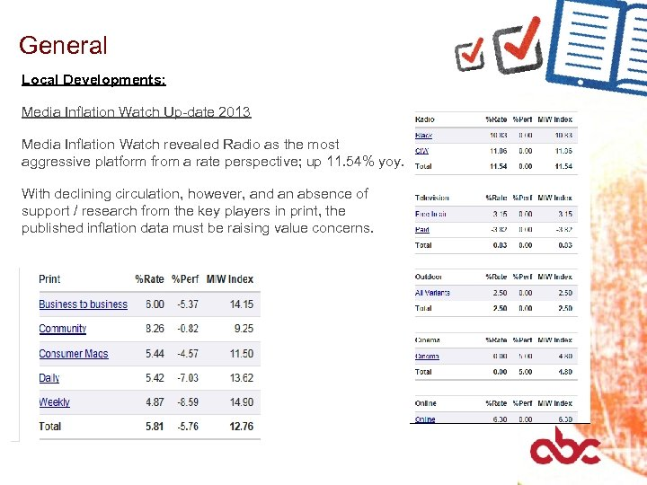 General Local Developments: Media Inflation Watch Up-date 2013 Media Inflation Watch revealed Radio as