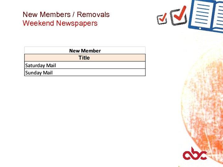New Members / Removals Weekend Newspapers