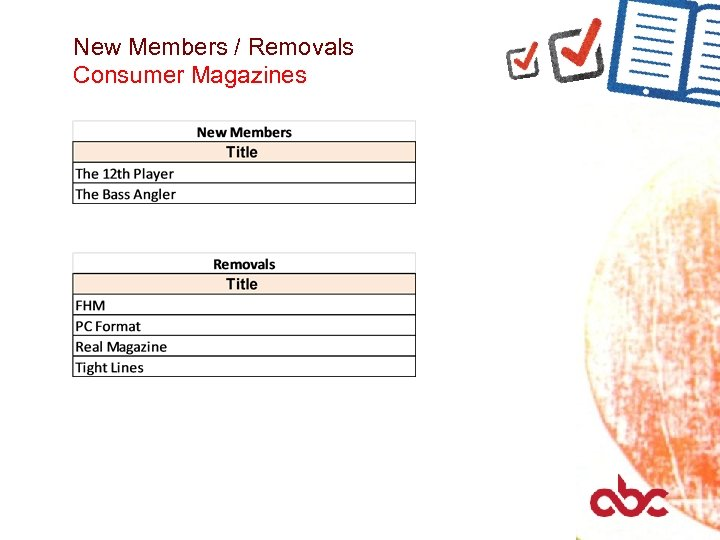 New Members / Removals Consumer Magazines