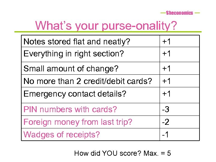 Sheconomics What's your purse-onality? Notes stored flat and neatly? Everything in right section? +1