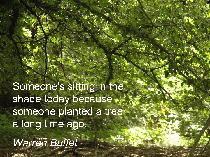 Someone's sitting in the shade today because someone planted a tree a long time
