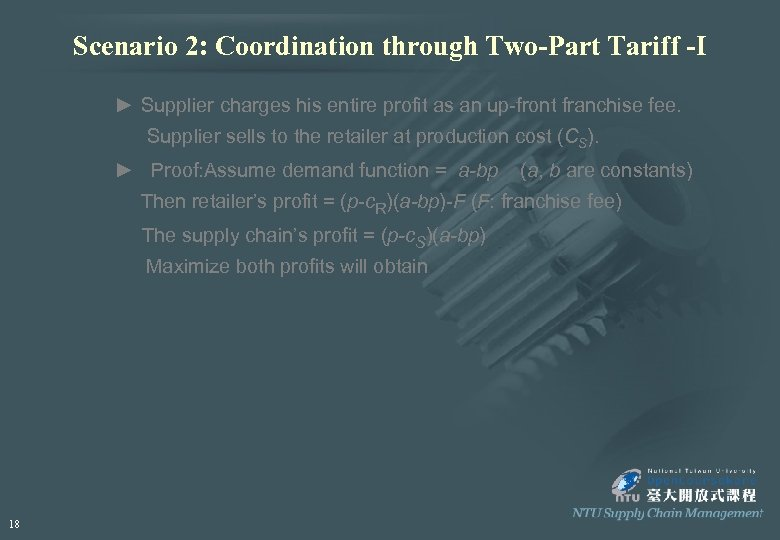 Scenario 2: Coordination through Two-Part Tariff -I ► Supplier charges his entire profit as