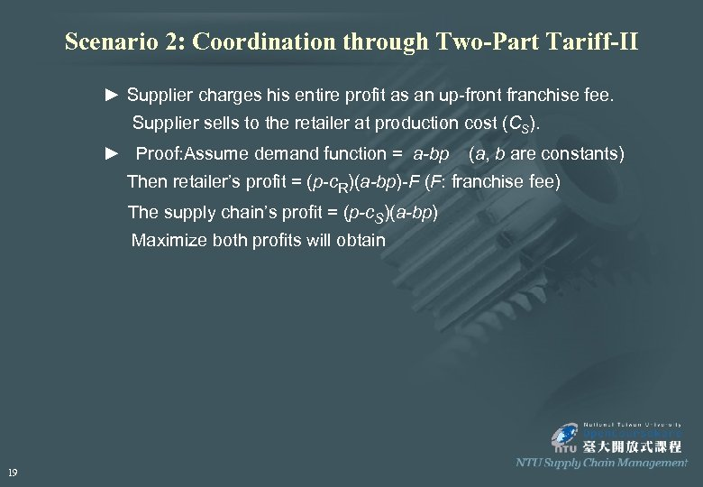 Scenario 2: Coordination through Two-Part Tariff-II ► Supplier charges his entire profit as an