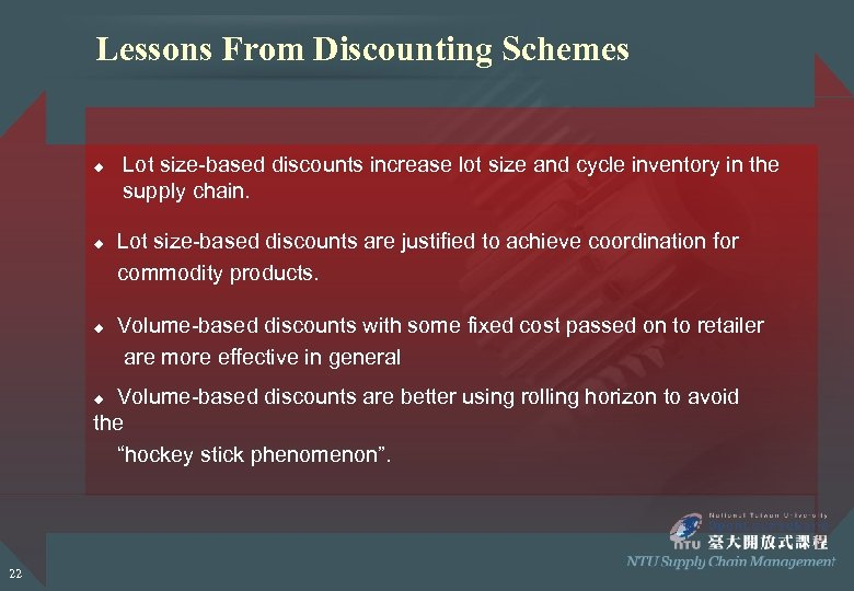 Lessons From Discounting Schemes u u u Lot size-based discounts increase lot size and