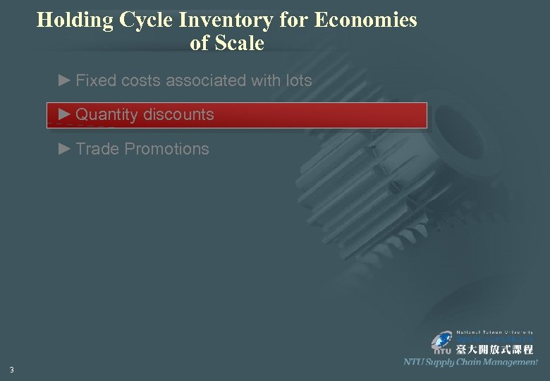 Holding Cycle Inventory for Economies of Scale ► Fixed costs associated with lots ►