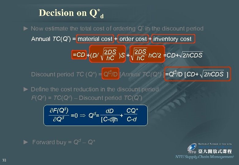 Decision on Q*d ► Now estimate the total cost of ordering Q* in the