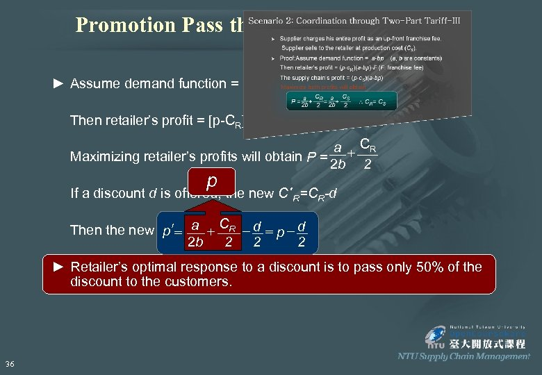Promotion Pass through to Customers ► Assume demand function = a-bp (a, b are
