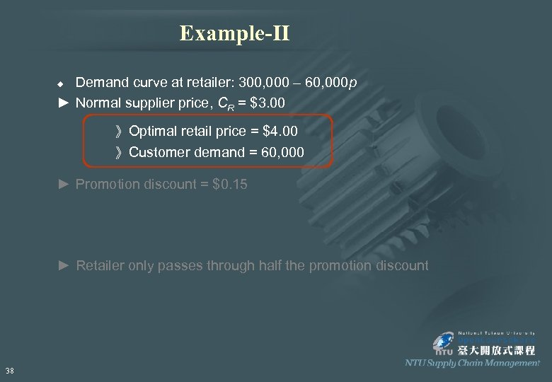 Example-II Demand curve at retailer: 300, 000 – 60, 000 p ► Normal supplier