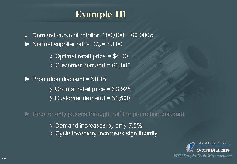 Example-III Demand curve at retailer: 300, 000 – 60, 000 p ► Normal supplier