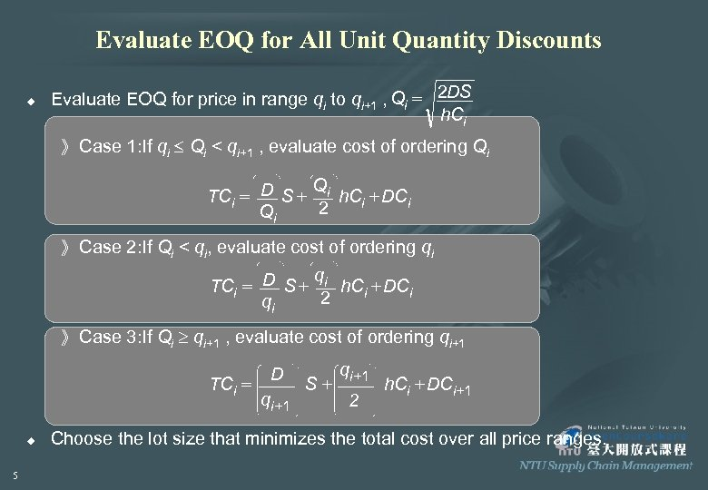 Evaluate EOQ for All Unit Quantity Discounts u Evaluate EOQ for price in range