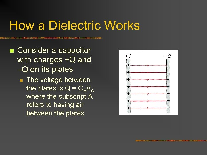 How a Dielectric Works n Consider a capacitor with charges +Q and –Q on