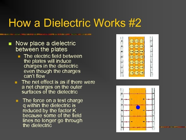How a Dielectric Works #2 n Now place a dielectric between the plates n