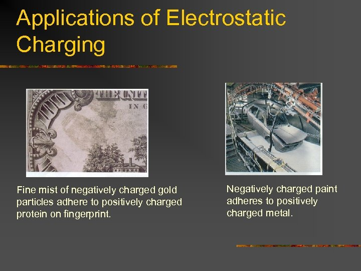 Applications of Electrostatic Charging Fine mist of negatively charged gold particles adhere to positively