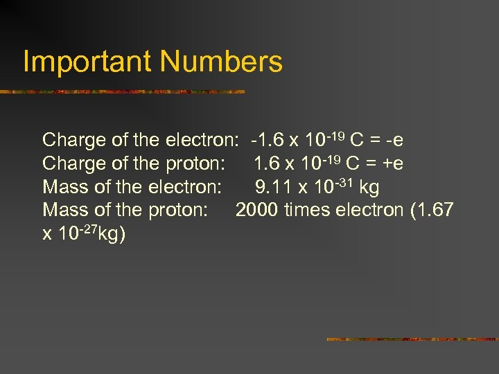 Important Numbers Charge of the electron: -1. 6 x 10 -19 C = -e