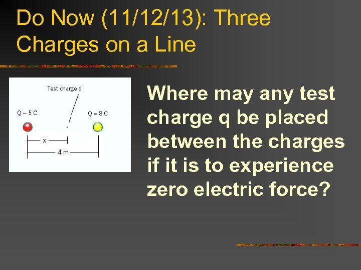 Do Now (11/12/13): Three Charges on a Line Where may any test charge q