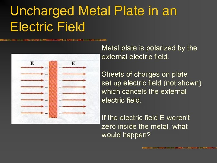 Uncharged Metal Plate in an Electric Field Metal plate is polarized by the external