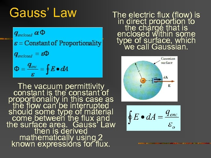 Gauss' Law The electric flux (flow) is in direct proportion to the charge that