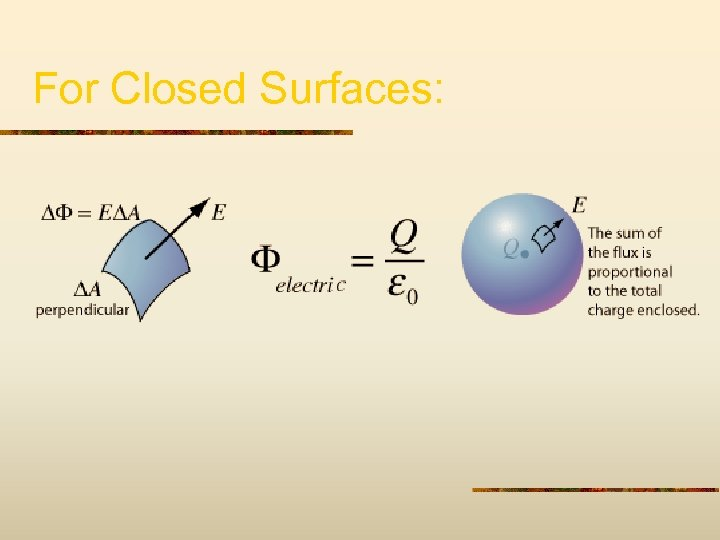 For Closed Surfaces: