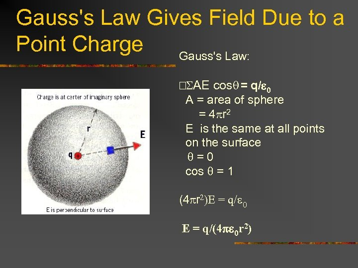 Gauss's Law Gives Field Due to a Point Charge Gauss's Law: SAE cosq =