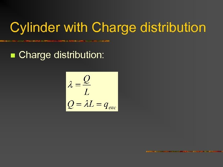 Cylinder with Charge distribution n Charge distribution: