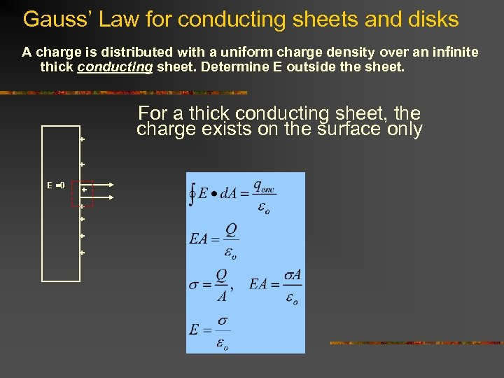 Gauss' Law for conducting sheets and disks A charge is distributed with a uniform