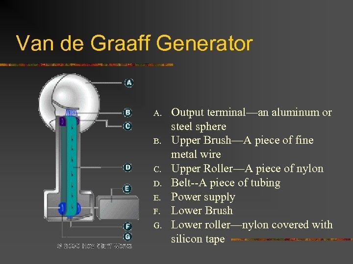 Van de Graaff Generator A. B. Output terminal—an aluminum or steel sphere Upper Brush—A
