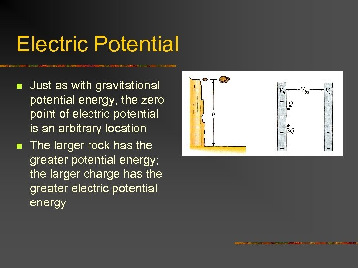 Electric Potential n n Just as with gravitational potential energy, the zero point of
