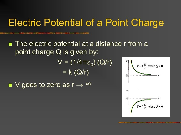 Electric Potential of a Point Charge n n The electric potential at a distance