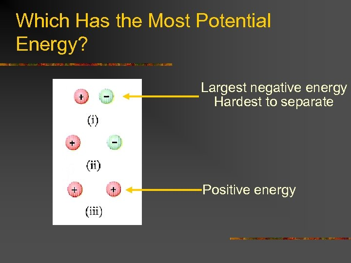Which Has the Most Potential Energy? Largest negative energy Hardest to separate Positive energy