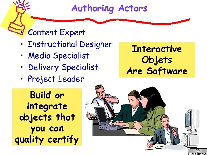 Authoring Actors • • • Content Expert Instructional Designer Media Specialist Delivery Specialist Project