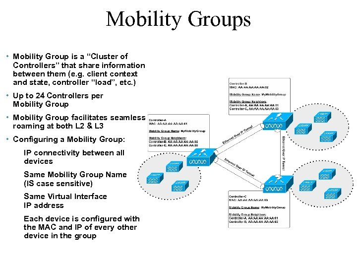 """Mobility Groups • Mobility Group is a """"Cluster of Controllers"""" that share information between"""