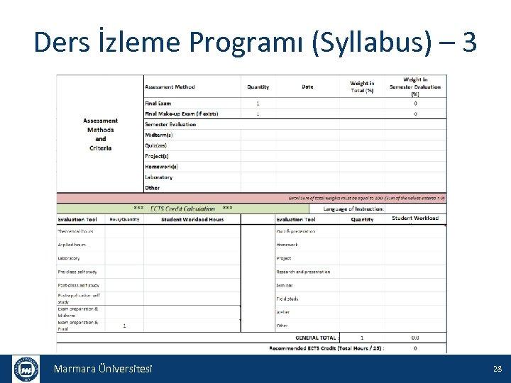 Ders İzleme Programı (Syllabus) – 3 Marmara Üniversitesi 28
