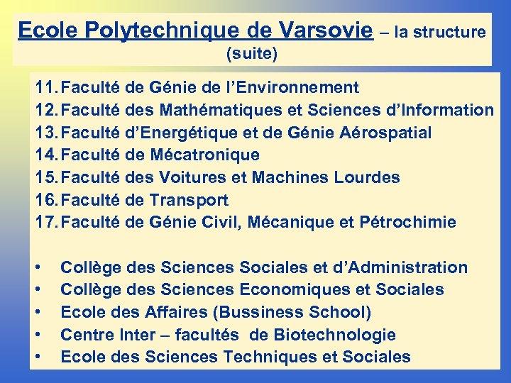 Ecole Polytechnique de Varsovie – la structure (suite) 11. Faculté de Génie de l'Environnement