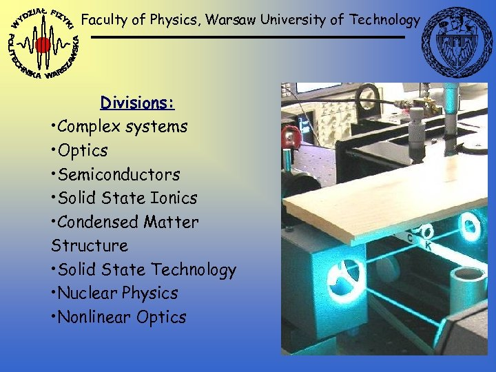 Faculty of Physics, Warsaw University of Technology Divisions: • Complex systems • Optics •