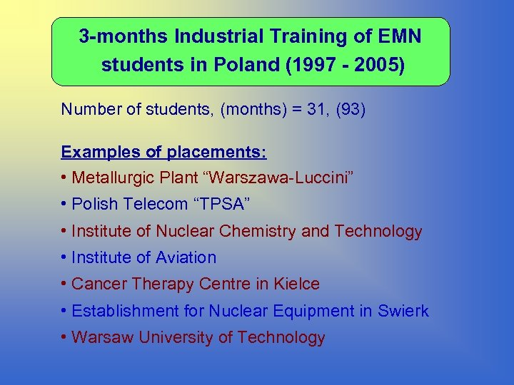 3 -months Industrial Training of EMN students in Poland (1997 - 2005) Number of