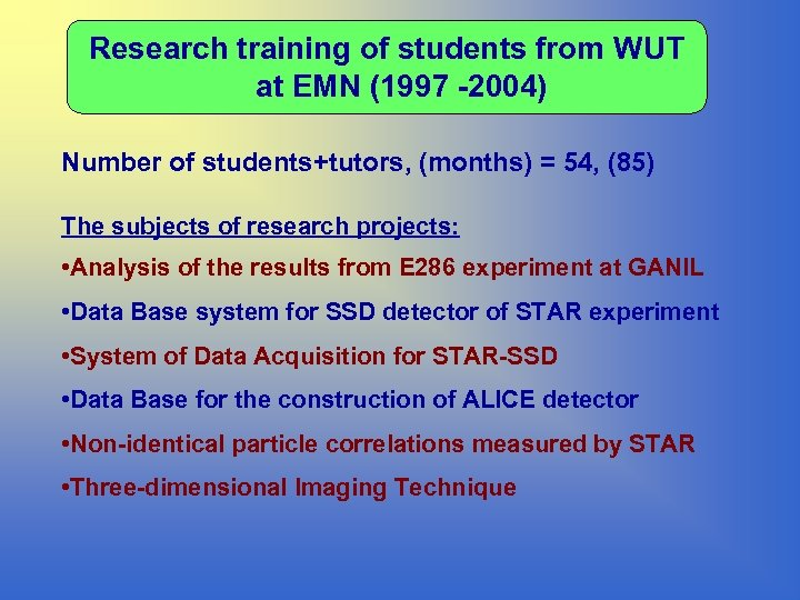 Research training of students from WUT at EMN (1997 -2004) Number of students+tutors, (months)
