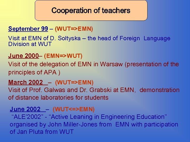 Cooperation of teachers September 99 – (WUT=>EMN) Visit at EMN of D. Soltyska –