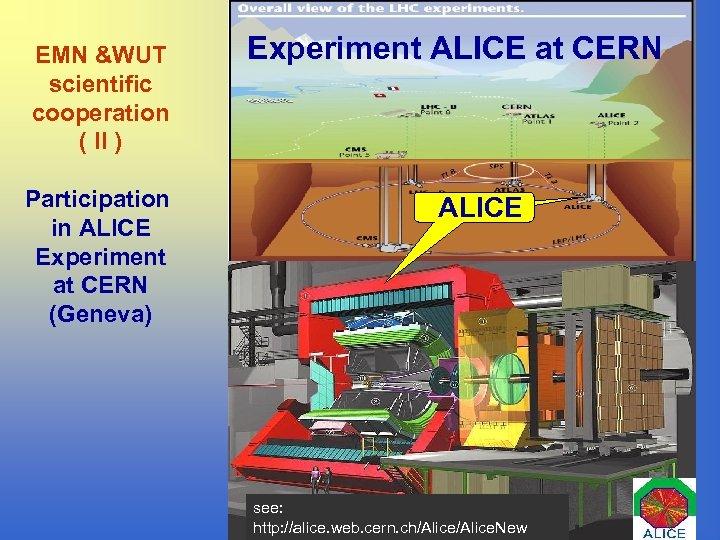EMN &WUT scientific cooperation ( II ) Participation in ALICE Experiment at CERN (Geneva)
