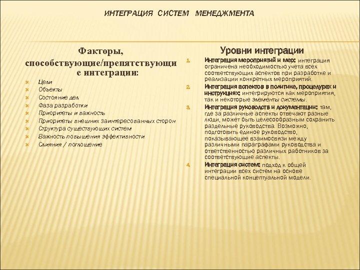 ИНТЕГРАЦИЯ СИСТЕМ МЕНЕДЖМЕНТА Факторы, способствующие/препятствующи е интеграции: Цели Объекты Состояние дел Фаза разработки Приоритеты
