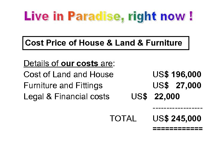 Cost Price of House & Land & Furniture Details of our costs are: Cost