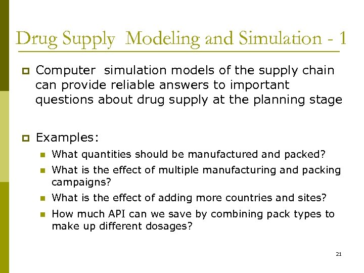Drug Supply Modeling and Simulation - 1 p Computer simulation models of the supply