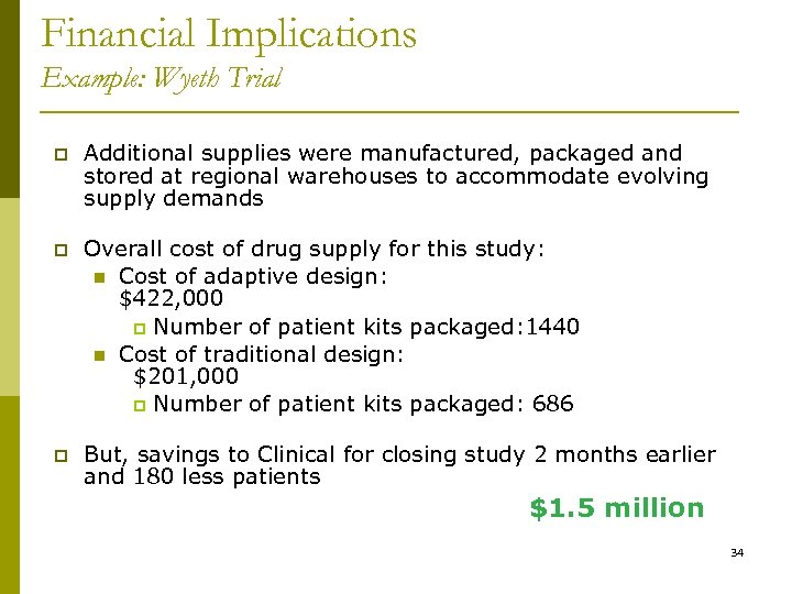 Financial Implications Example: Wyeth Trial p Additional supplies were manufactured, packaged and stored at