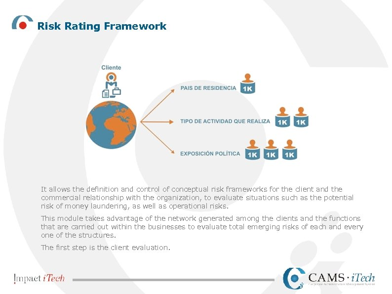 Risk Rating Framework It allows the definition and control of conceptual risk frameworks for
