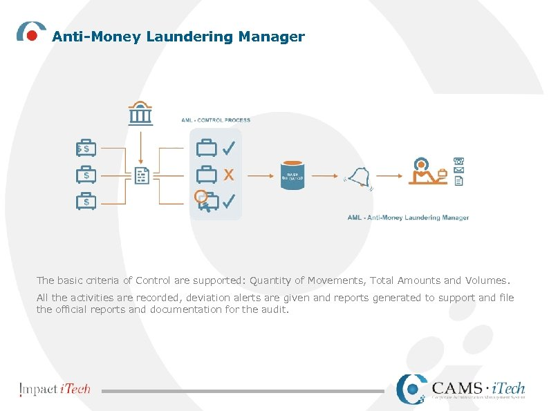 Anti-Money Laundering Manager The basic criteria of Control are supported: Quantity of Movements, Total